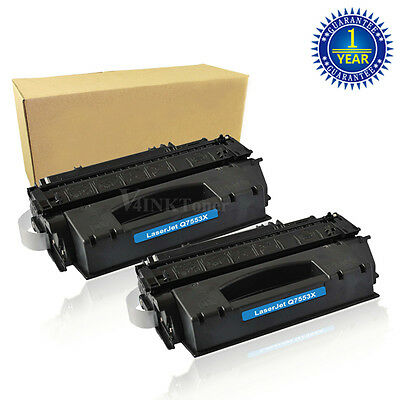2x Q7553X Black Toner Cartridge For HP 53X LaserJet P2010 P2015D M2727NF MFP