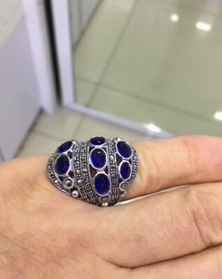Marcasite Ring 925 Sterling Silver Handcrafted Artisan Fashion Jewelry Hot Blue