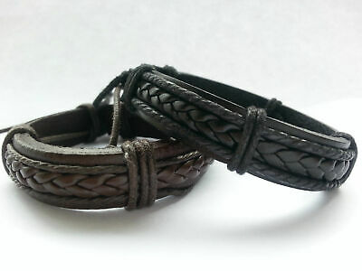 Mens leather braided surfer wristband bracelet