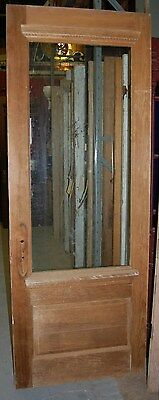 "Vintage Pine Door, ""stripped"", w/ center glass window"