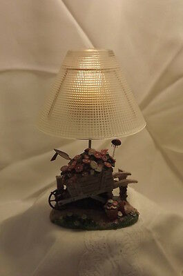 "RESIN LADY BUG GARDEN TEALIGHT CANDLE WITH FROSTED GLASS LAMP SHADE 8.25"" TALL"