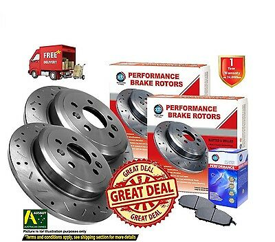2 REAR DISC ROTORS DRILLED SLOTTED HOLDEN COMMODORE VT VU VX VY VZ w/ PADS ADB41