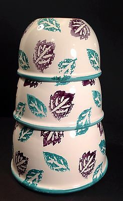 Set of 3 Ceramic Bowls Salad Serving Hand Painted Made In Italy Teal & Purple
