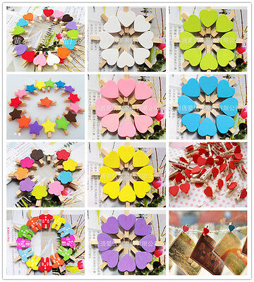 100x Wooden Clips 30mm Mini Wood Photo Paper pegs Clothespin wedding decor craft