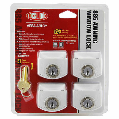 Lockwood 885 Awning Window Lock White 4pk