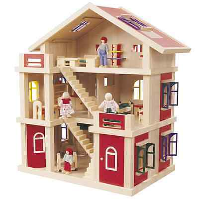 Timbertop Wood - Dollhouse play Centewith Furniture & dolls-3 Level