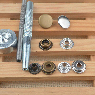 Heavy Duty 15mm x30 Sets Snap Fasteners Poppers Press Stud Kit Buttons w/Tool