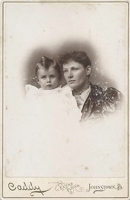 Cabinet Card Portrait Well-Dressed Mother   Son W/ Unusual Hair - Johnstown, Pa
