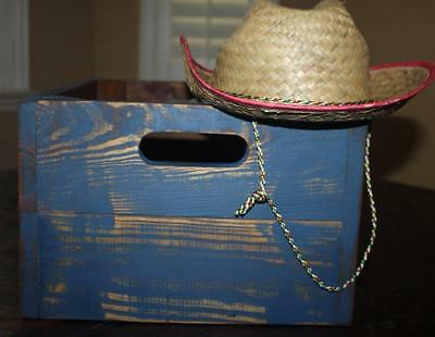 Handmade Solid Reclaimed Wood Box in Distressed Blue