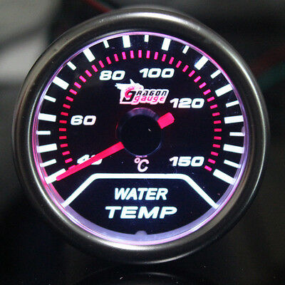 "2"" 52mm Car Universal Pointer Water Temp Gauge Meter Smoke Tint Len LED"