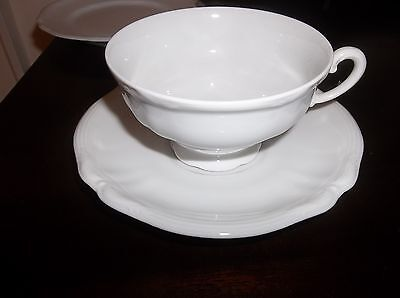 HUTSCHENREUTHER CHINA CUP AND SAUCER SET PATTERN BELL AIRE WHITE