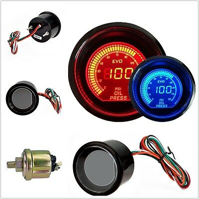 "RED & BLUE LED 2"" 52mm OIL PRESSURE PRESS METER GAUGE FOR CAR MOTOR AUTO VN"