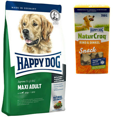 15 kg Happy Dog Supreme Fit & Well Maxi Adult + 350 g NaturCroq Rind Snack