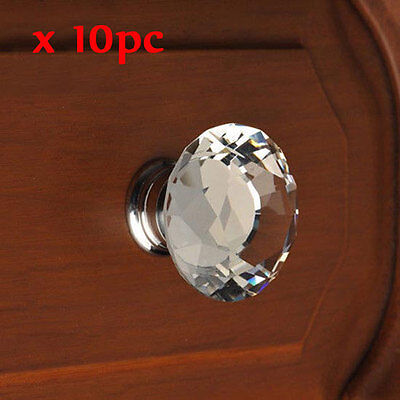 10 Pcs Diamond Shape Crystal Glass Cabinet Knob Cupboard Drawer Pull Handle