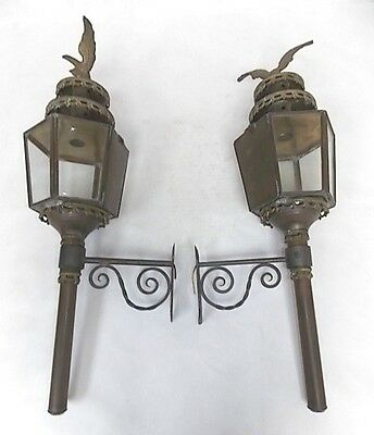 Pr Of French ? Antique Brass Outdoor Wall Sconce Carriage Lights W/ Eagle Finial