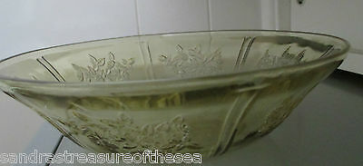 Vintage Amber Rose of Sharon Large Fruit Bowl by Federal Glass 1930s EUC