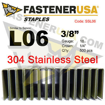 "L Staples L06 Stainless Steel 18 gauge 1/4"" crown-3/8"" length (500 ct)"