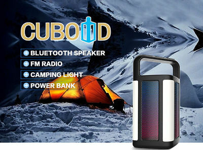 Cuboid Outdoor Portable Wireless Bluetooth Speaker w/ Power Bank LED FM radio