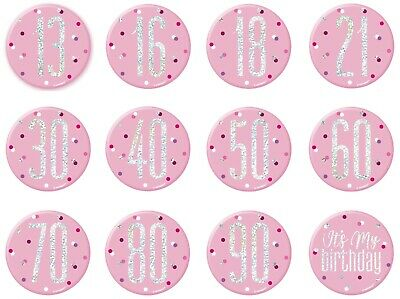13th-100th Pink Glitz Birthday Giant Pin on Badge Party Decorations
