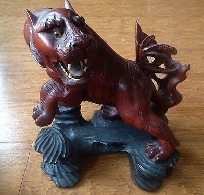 Vintage 19C Hand Carved Asian Chinese Hardwood Tiger