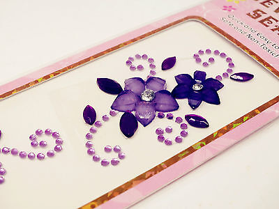 3xMix Flowery Diamante Gem Seal Stick On Rhinestone DIY Card Decal Craft Sticker