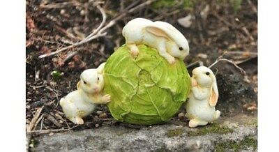 Miniature Dollhouse FAIRY GARDEN - Rabbits Rolling Cabbage - Accessories