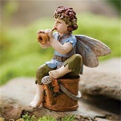 "2.75"" My Fairy Gardens Mini Figure - ""Piper"" Sitting on Watering Can - Figurine"