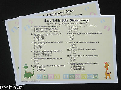 Baby Trivia - 20 Players - Baby Shower Game