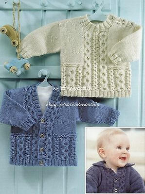 (550) Baby/ Childs Cable Jacket, V-Neck Cardigan & Sweater, Dk Knitting Pattern