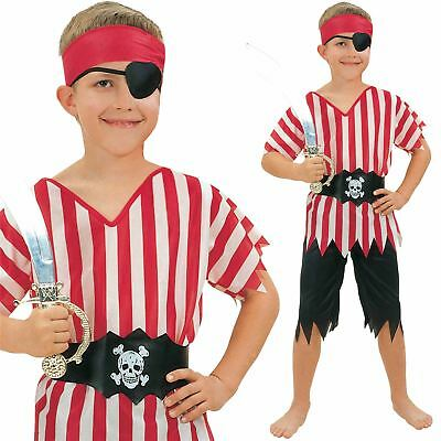 Kids Caribbean Pirate Boy Deckhand Shipmate Fancy Dress Book Week Costume Outfit