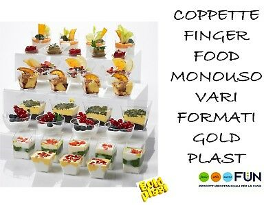 Vassoio Coppette Finger Food Vari Formati Monouso Party Gold Plast