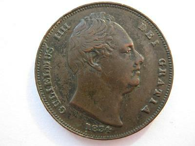1834 Farthing, incuse line, VF.