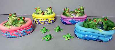 New Frog In Pool Trinket Box Set 4 Boxes 14 Frogs Dolphin Dolphins