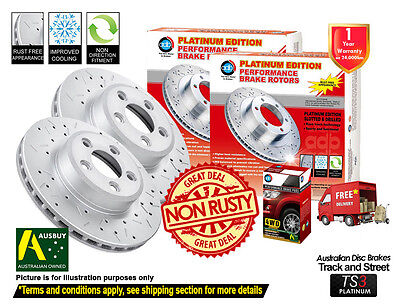 2 FRONT DISC ROTORS DRILLED SLOTTED NISSAN NAVARA D40 295mm[Spain] w/ 4X4 PADS