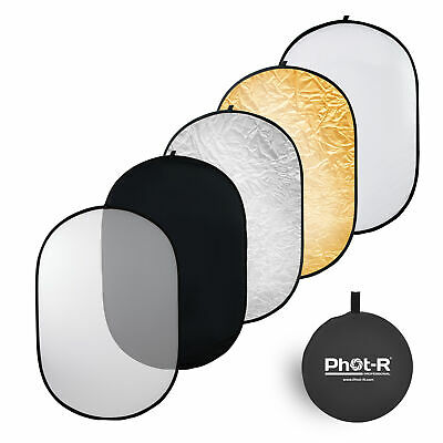 "Phot-R 100x150cm (40""x60"") PRO 5-in-1 Photo Studio Collapsible Reflector+Case"