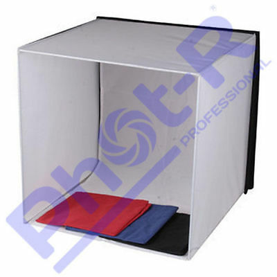 Phot-R Photo Studio Light Tent Cube Soft Box 60x60x60cm + 4 Coloured Backdrops