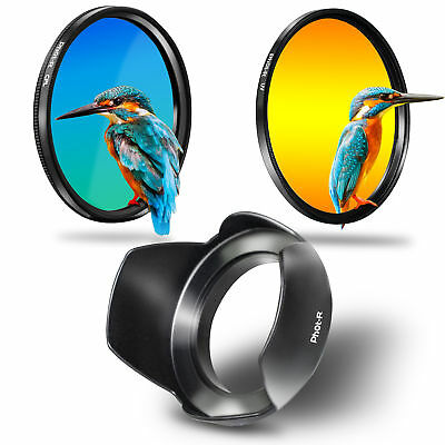 Phot-R 49mm Slim UV + Circular Polarising CPL Filter + Flower Petal Lens Hood