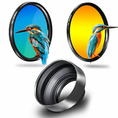 Phot-R 55mm Slim UV + Circular Polarising CPL Filter + 3in1 Rubber Lens Hood Kit