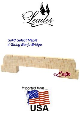 "Leader Banjo Co 4-String USA Solid Select Maple 1/2"" 2 Footed Bridge"