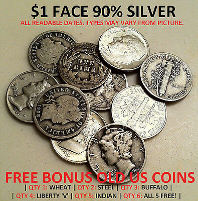 $1 ($1.00) ONE DOLLAR FACE VALUE US 90% JUNK SILVER + FREE BONUS OLD USA COIN(S)