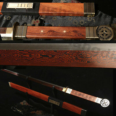"42"" ROSEWOOD CHINESE SWORD FULL TANG BLADE RED BLACK FOLDED STEEL VERY SHARP"