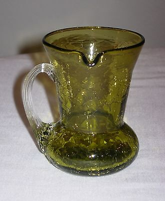 Old Vintage Green Crackle Glass Miniature Pitcher Side Spout Clear Handle