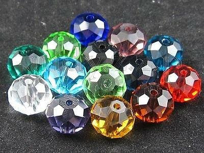 10mm Rondelle Faceted Glass Crystal Loose Beads GPX