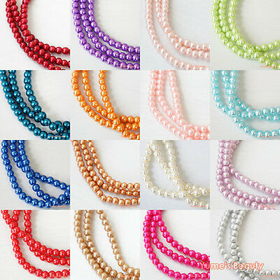 180pcs / 900pcs Colors 4mm Glass Pearls Loose Beads Strands Round Craft New