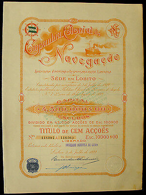 Portugal Compania Colonial de Navegacao Aktie share 1922  orange Schiffahrt