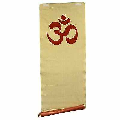 Natural Jute Yoga Exercise Mat for Ashtanga or Power Yoga with OM Symbol and Bag
