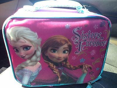NWT Disney Frozen Elsa & Anna Pink Sisters Forever insulated lunch tote box bag