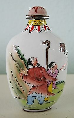 Hand Painted Cloisonne Chinese Snuff Bottle-Signed - Fishermen & Kite Flyers
