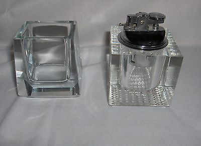 Vintage Lead Crystal Glass Cigarette Lighter & Cigarette Holder NICE