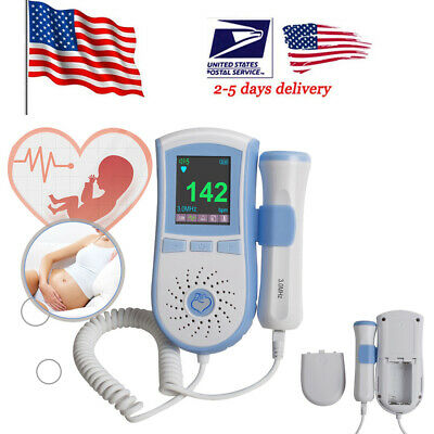 LCD Prenatal Fetal Doppler Baby Heart Beat Monitor Pregnancy 3Mhz Probe *USA* CE